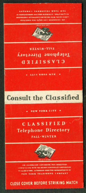 New York Telephone Red Book Classified matchcover 1940s