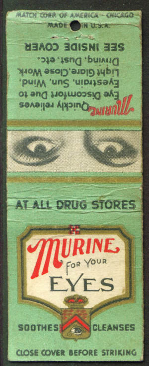 Murine for your Eyes advertising matchcover 1940s
