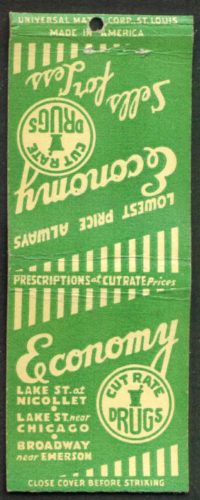 Economy Cut Rate Drugs Chicago IL matchcover 1940s