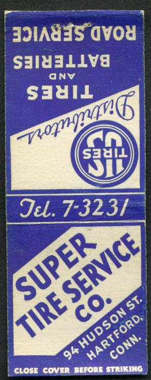 U S Tires Super Tire Service Hartford CT matchcover 1940s