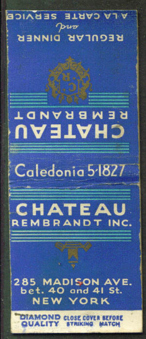 Chateau Rembrandt New York City matchcover 1940s
