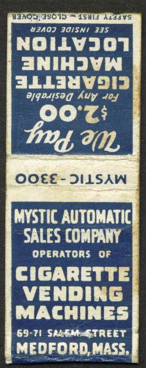 Mystic Cigarette Vending Medford MA matchcover 1940s