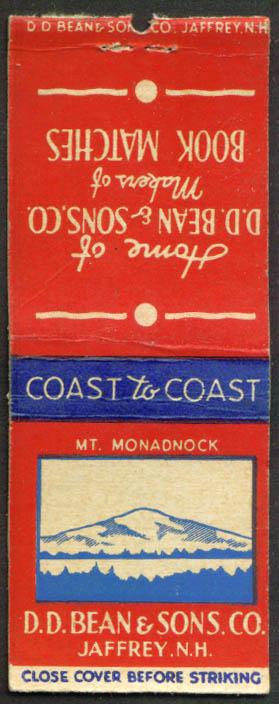 D D Bean Book Matches Jaffrey NHY matchcover 1940s