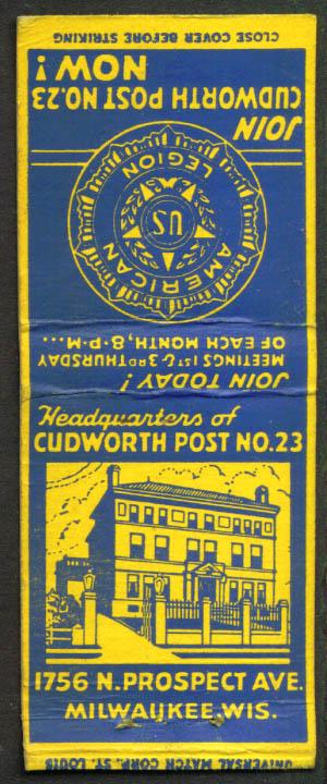American Legion Cudworth Post Milwaukee matchcover 1940s