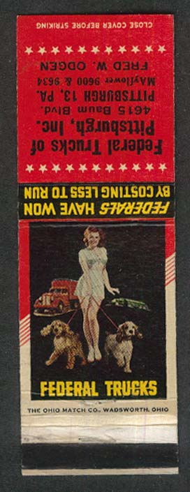 Federal Trucks 4615 Baum Blvd Pittsburgh PA pin-up matchcover