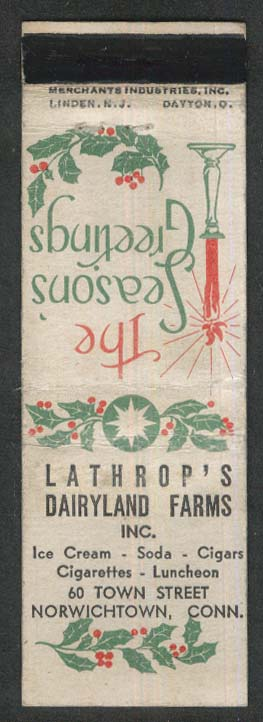 Lathrop's Dairyland Farms 60 Town St Norwichtown CT Christmas matchcover