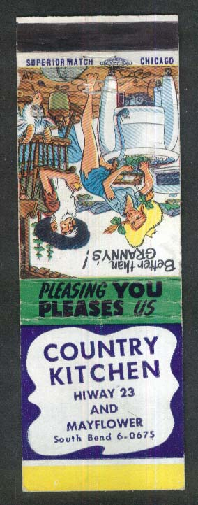 Country Kitchen Hiway 23 & Mayflower South Bend MI Hillbilly cartoon matchcover