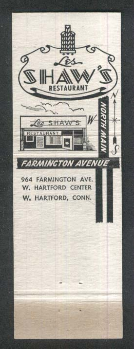 Les Shaw's Restaurant West Hartford CT matchcover