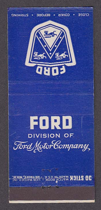 1953 Ford Motor Company matchcover