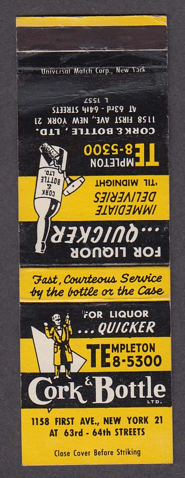 Cork & Bottle Ltd 1158 First Ave New York NY matchcover
