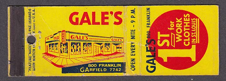 Gale's Work Clothes 800 Franklin St Louis MO matchcover
