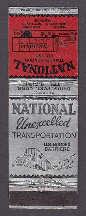 National Transportation Co Inc US Bonded Carriersmatchcover