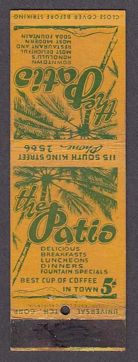 The Patio Restaurant Downtown Honolulu Hawaii matchcover