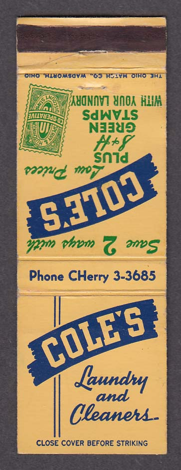 Cole's Laundry & Cleaners S + H Green Stamps matchcover