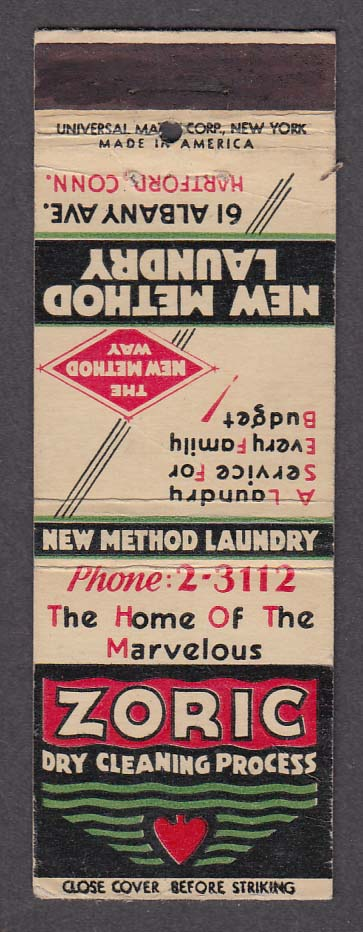 New Method Laundry 61 Albany Ave Hartford CT Zoric Dry Cleaning matchcover