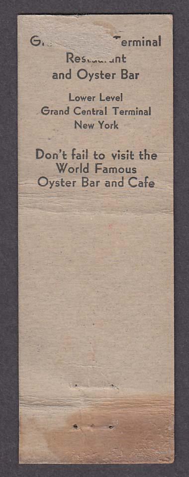 Gateway Restaurants Oyster Bar RKO Building Rockefeller Center matchcover