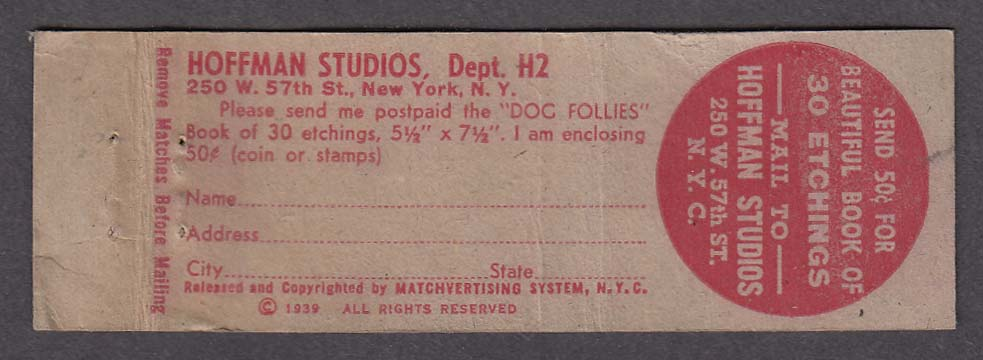 Hoffman Studios 250 W 57th St New York NY matchcover What Pretty Bubbles