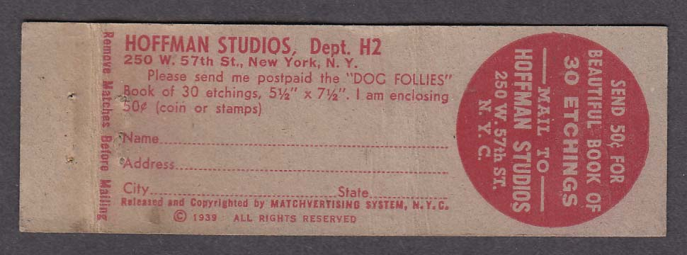 Hoffman Studios 250 W 57th St New York NY matchcover Funny Place for Sunglasses
