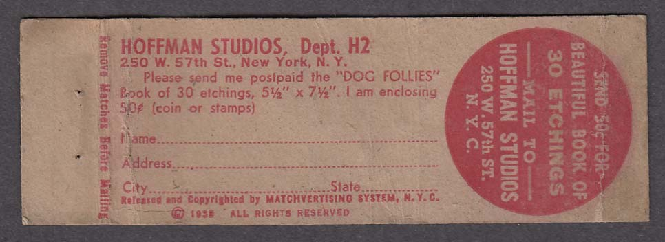 Hoffman Studios 250 W 57th St New York NY matchcover Some Service Eh Lady