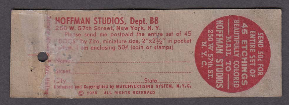 Hoffman Studios 250 W 57th St New York NY matchcover Ladies First