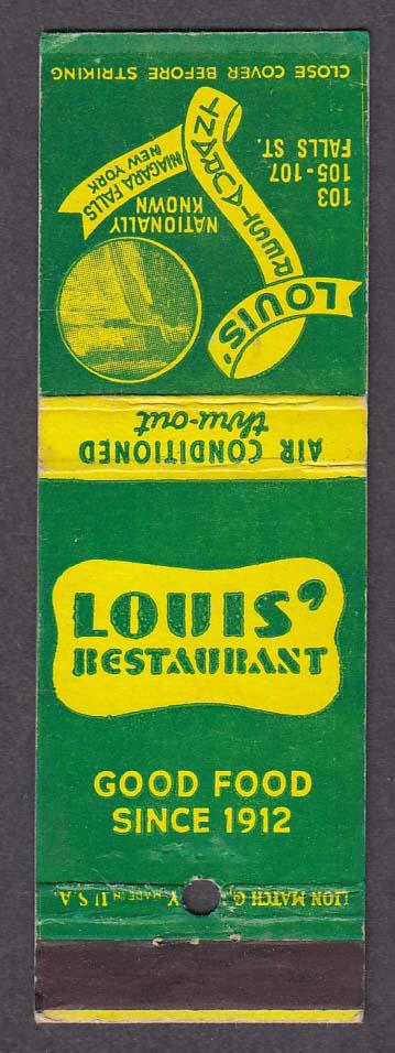 Louis' Restaurant 103 105 107 Falls St Niagara Falls NY matchcover