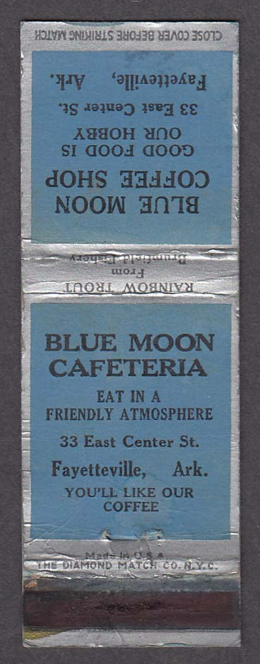 Blue Moon Cafeteria Coffee Shop Fayetteville AR matchcover