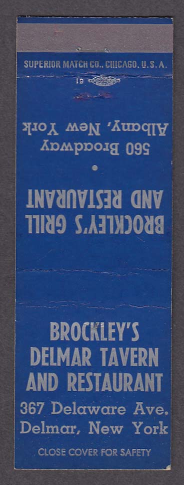 Brockley's Grill & Restaurant 560 Broadway Albany NY Delmar Tavern matchcover