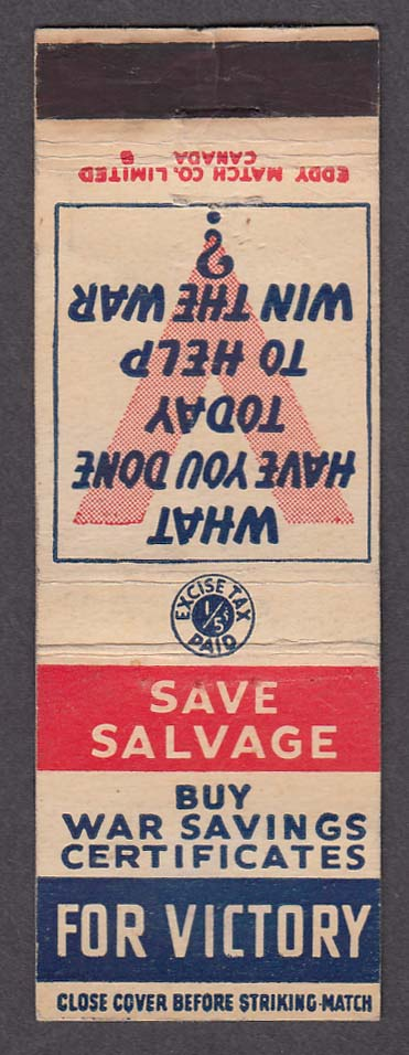 Save Salvage Buy War Savings Certificates V for Victory matchcover