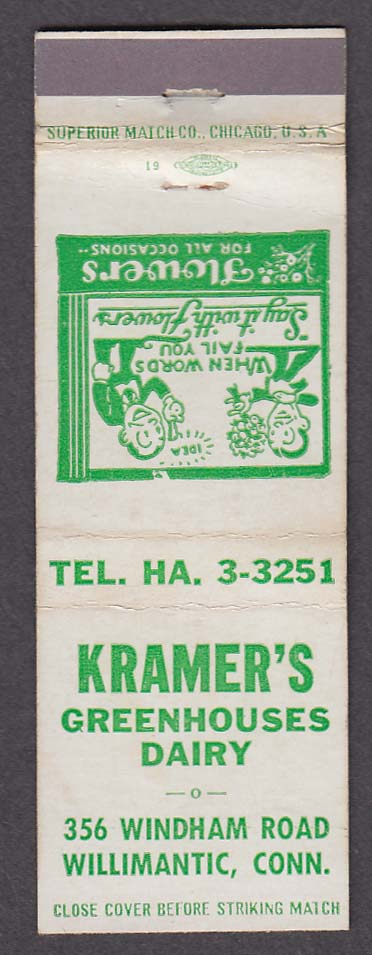 Kramer's Greenhouses Dairy 356 Windham Rd Willimantic CT matchcover