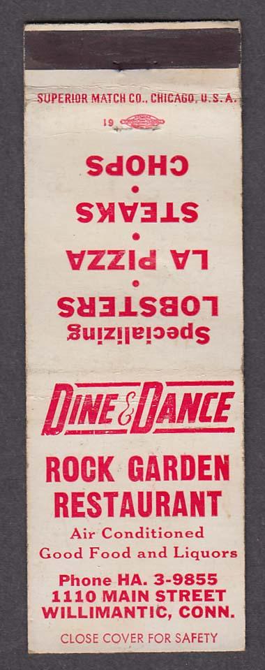 Dine & Dance Rock Garden Restaurant 1110 Main St Willimantic CT matchcover