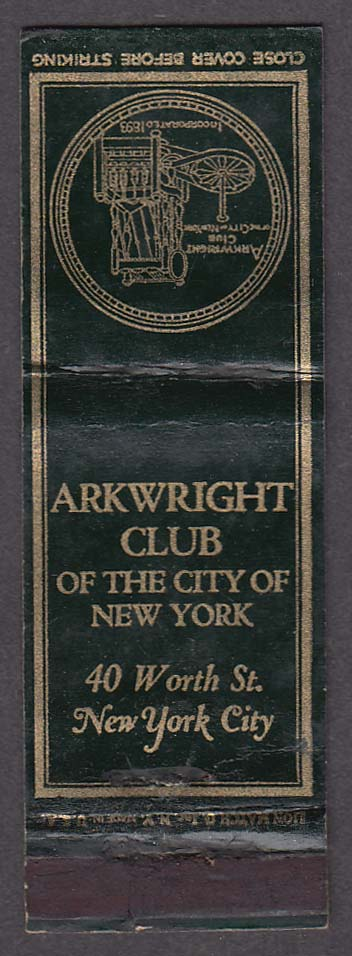 Arkwright Club 40 Worth St New York City NY matchcover