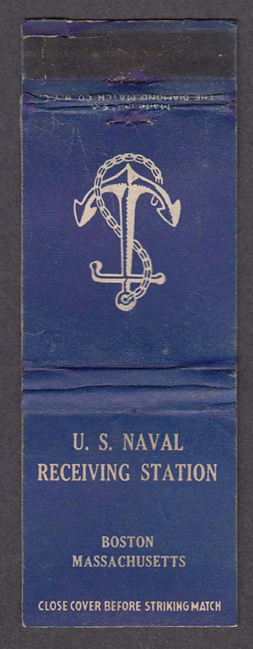 US Naval Receiving Station Boston MA matchcover