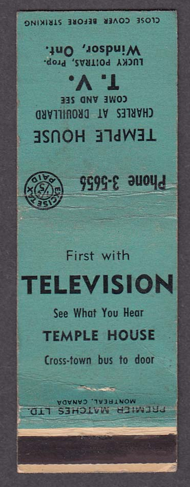 Temple House Charles at Drouillard Television Windsor Ontario Canada matchcover