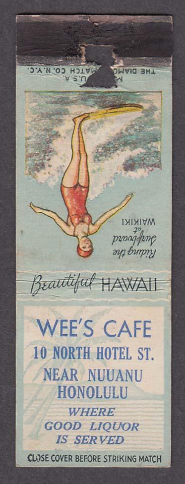 Wee's Café 10 North Hotel St Nuuanu Honolulu HI matchcover