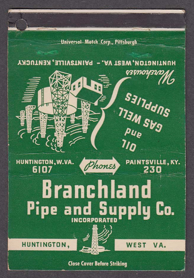 Branchland Pipe & Supply Co Huntington WV matchcover