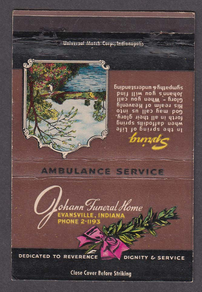 Johann Funeral Home Evansville IN Autumn matchcover