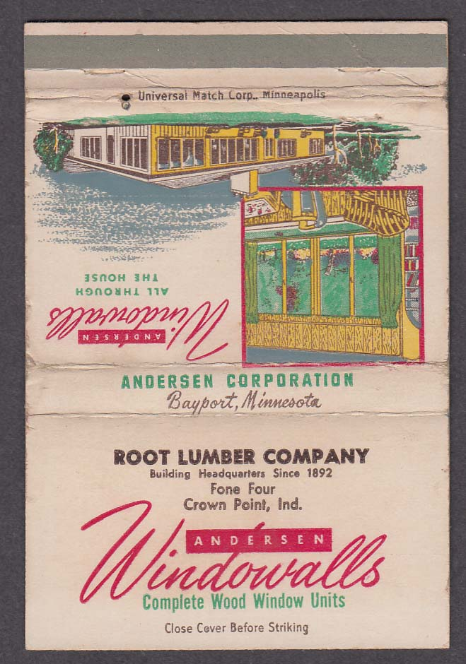 Root Lumber Company Crown Point IN Andersen Windowalls matchcover