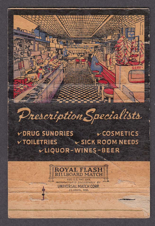 Fisher's Pharmacy 4850 College Ave Indianapolis IN matchcover