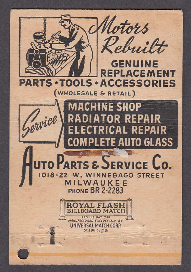 Auto Parts & Service Co 1018-22 W Winnebago St Milwaukee WI matchcover