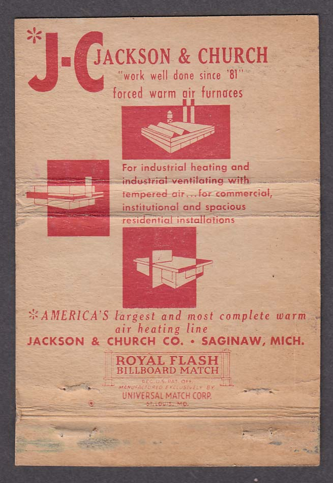 J-C Jackson & Church Co Saginaw MI matchcover