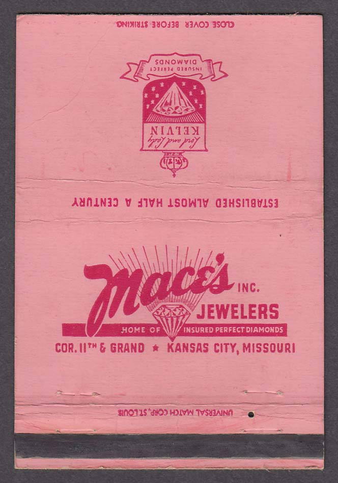 Mace's Jewelers 11th & Grand Kansas City MO matchcover