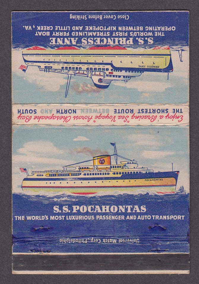 SS Pocahontas SS Princess Anne Kiptopeke & Little Creek VA matchcover