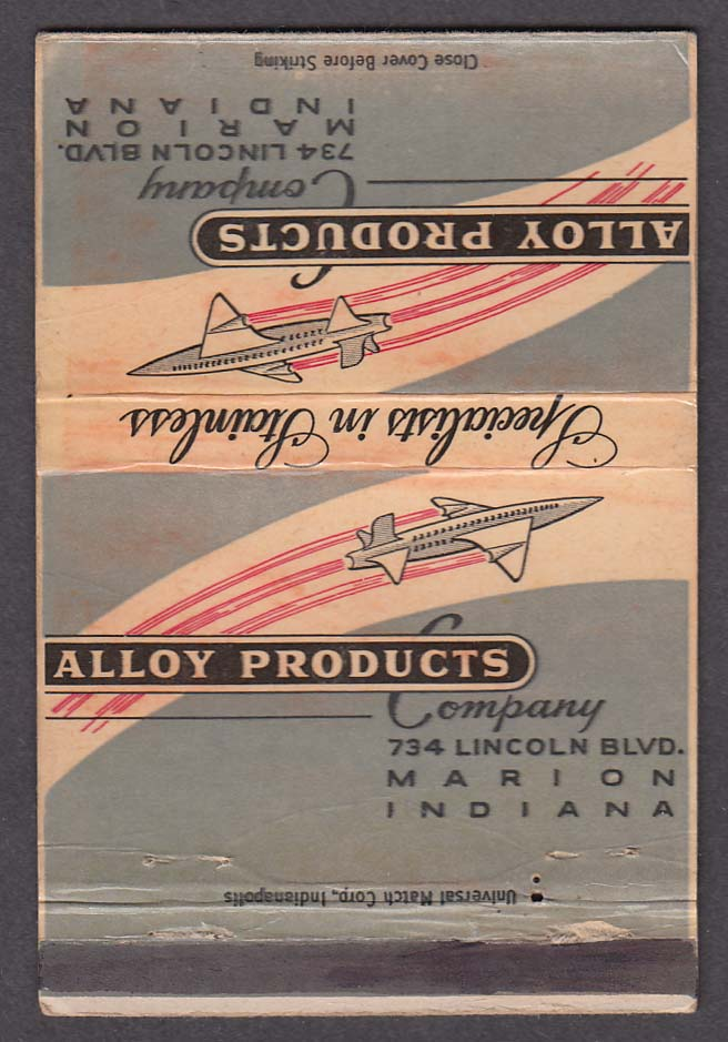 Alloy Products Company 734 Lincoln Blvd Marion IN matchcover