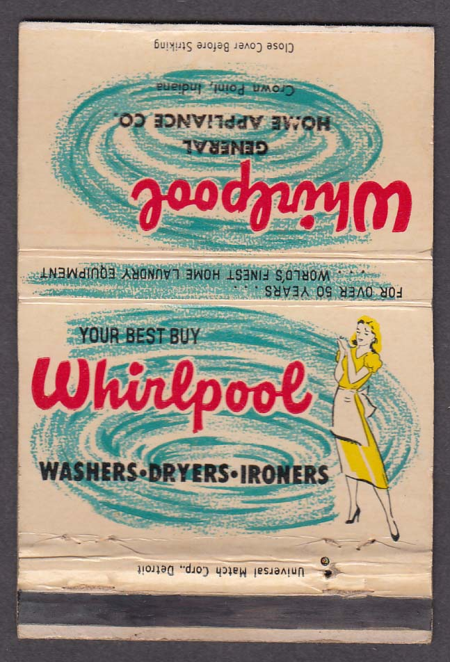 Whirlpool Washers Dryers Ironers General Home Appliance St Joseph MI matchcover
