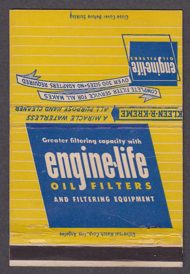 Engine-Life Products Corporation El Monte CA Oil Filters advertising matchcover
