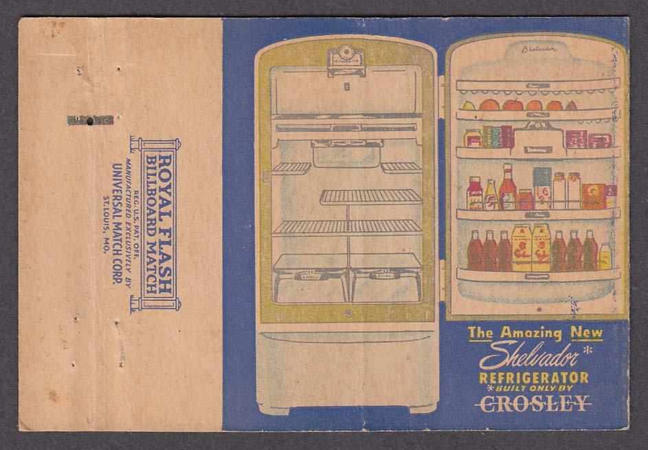 Crosley Shelvador Refrigerator advertising matchcover
