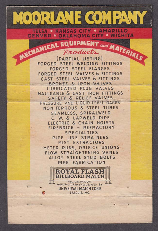 Moorlane Company Distributors of Mechanical Equipment & Materials matchcover
