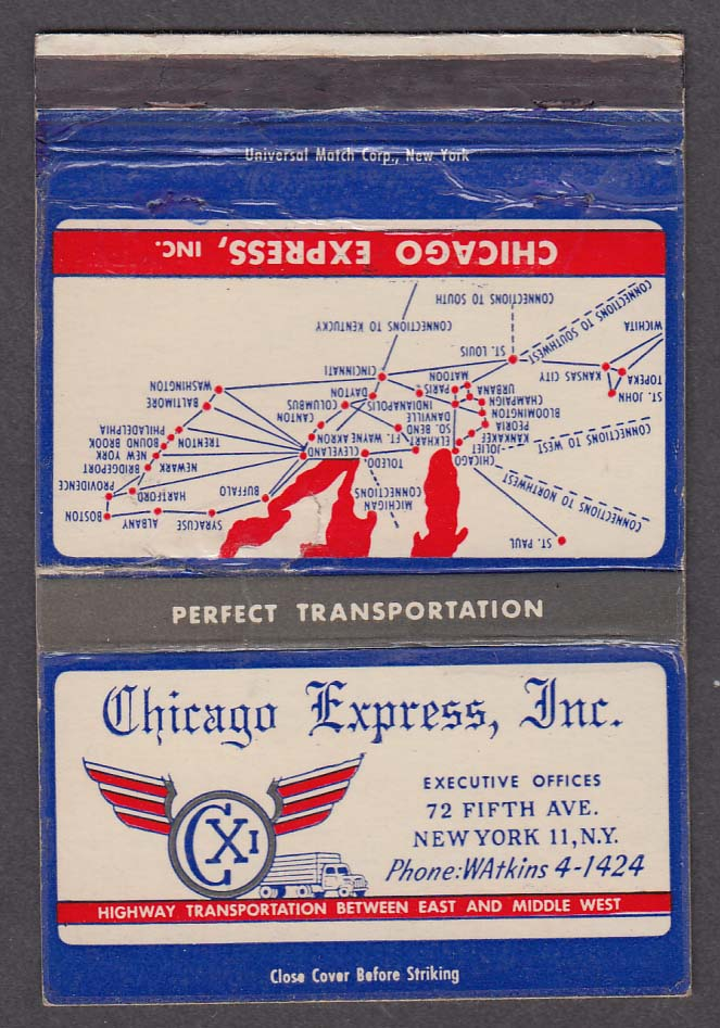 Chicago Express Inc 72 Fifth Ave New York NY matchcover