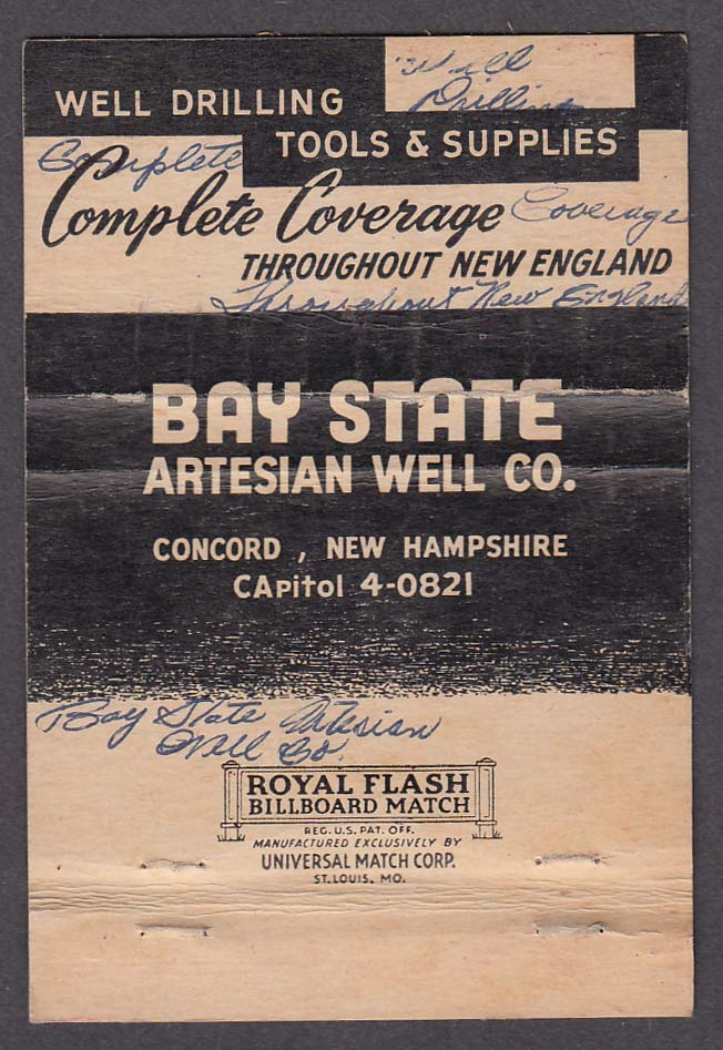 Bay State Artesian Well Co Concord NH matchcover