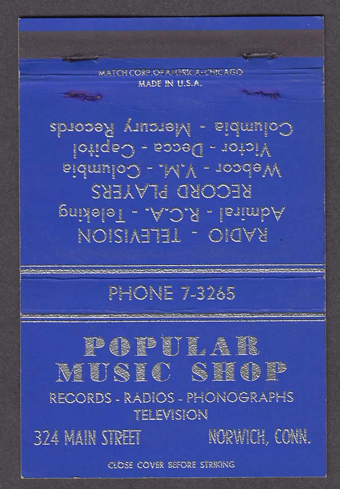 Popular Music Shop 324 Main St Norwich St blue matchcover